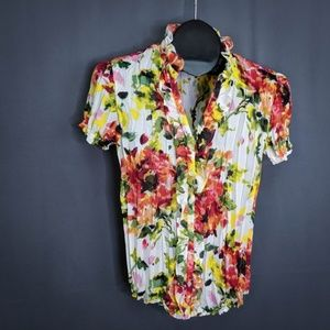 East 5th Womens Top Shirt Small Red Green Floral ✔